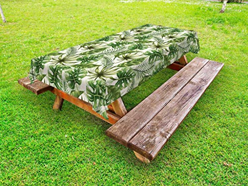 Lunarable Tropical Outdoor Tablecloth, Rainforest Island Jungle Foliage Pattern Green Leaves Retro Nature, Decorative Washable Picnic Table Cloth, 58 X 104 Inches, Green Olive Green ()