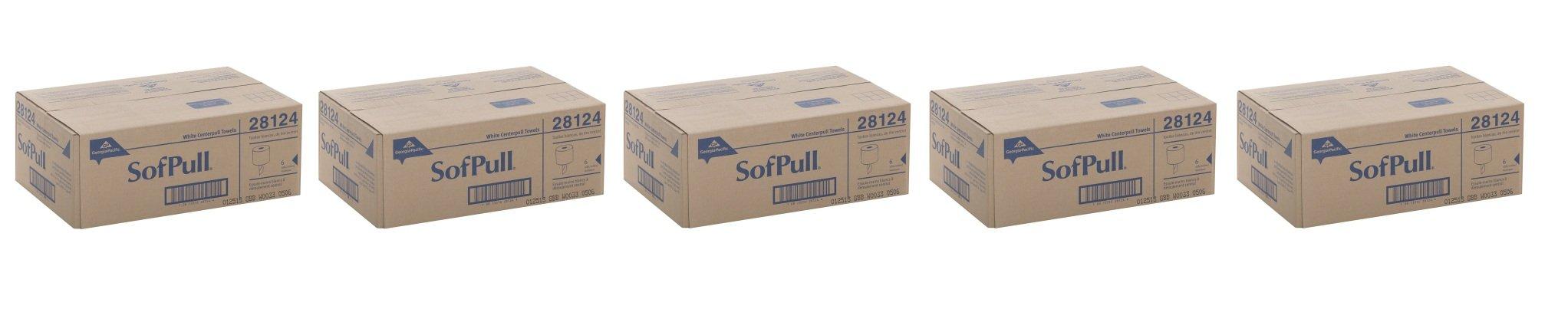 Georgia-Pacific SofPull 28124 White MVmtOU Premium 1-Ply Regular Capacity Centerpull Paper Towel, 5Pack (6 Rolls)