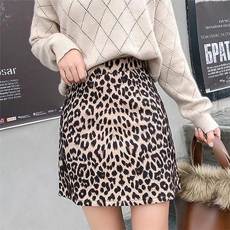 HEHEAB Falda Split Mini Lápiz Falda Falda De Leopardo Mujer ...