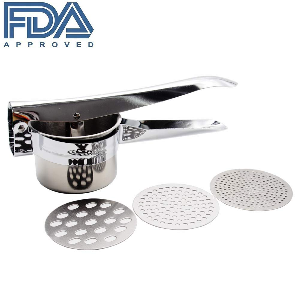Stainless Steel Potato Ricer with 3 Interchangeable Discs Potato Masher Mashed Potatoes Maker Food Presser Premium Baby Food Strainer for Making of Grapes, Lemon, Apples and Other Fruit Juices