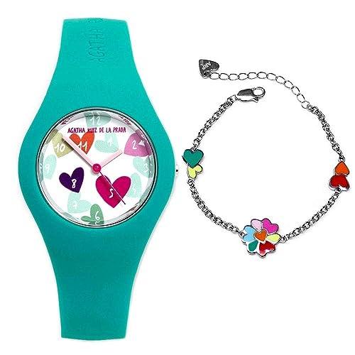 Juego Agatha Ruiz de la Prada reloj AGR224 pulsera plata [AB9351] - Modelo: AGR224: Amazon.es: Joyería