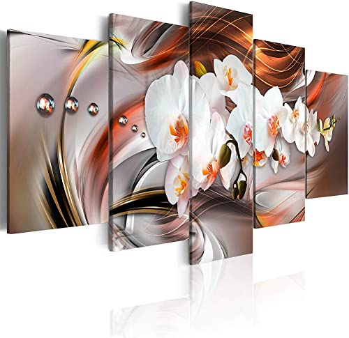 Canvas_Art_Design_2015 White Floral Canvas Print Wall Art Floral Orchid Painting Artwork Bedroom Living Room Office Decor 5 Panels A,Over Size 60inch x 30inch