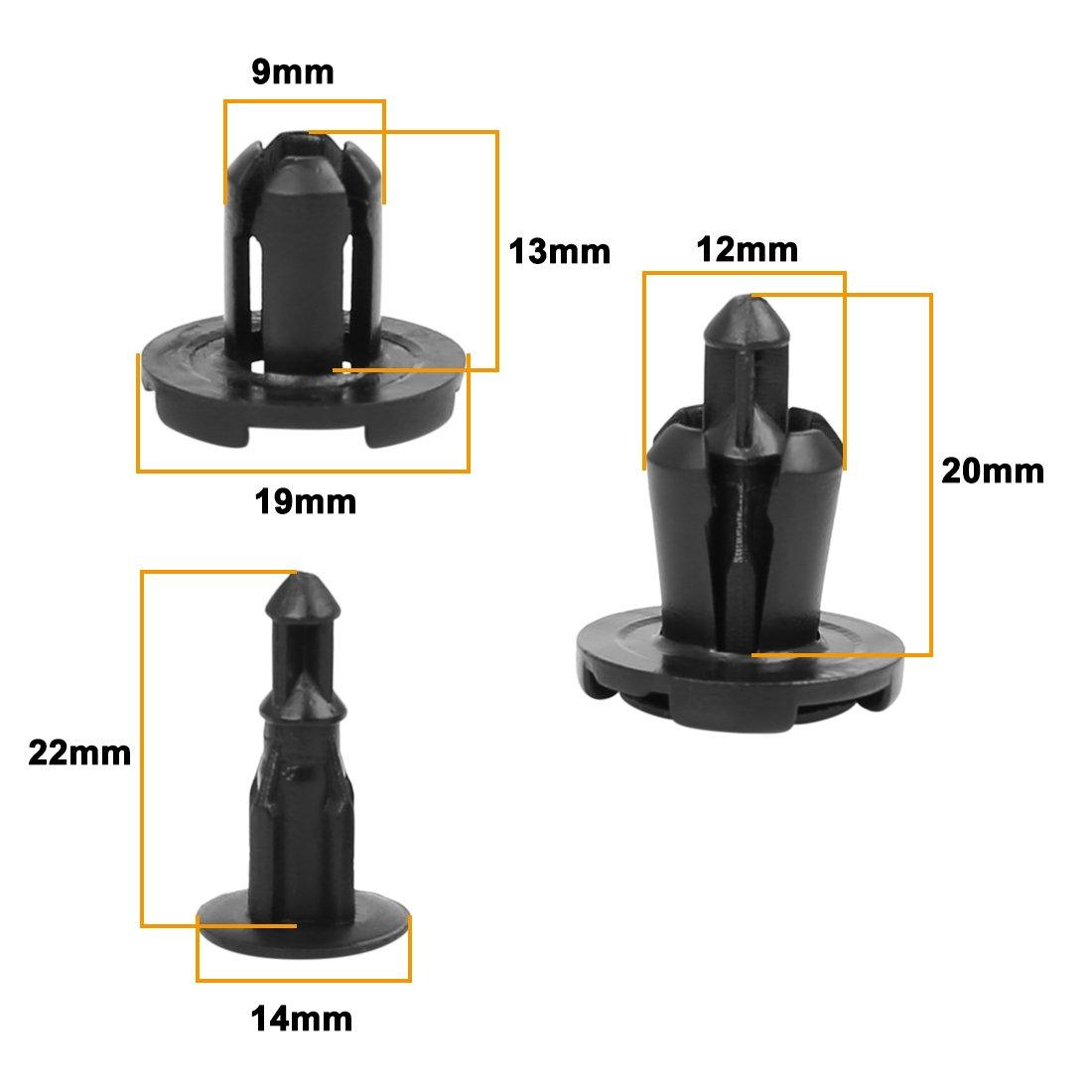 uxcell/® 30 Pcs Push Fender Retainer Bumper Clips MR200300