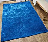 LA Rug Linens Cozy Solid Electro Blue High Pile Shag Rug, 8′ x 10′ (Aroma Electro Blue) For Sale