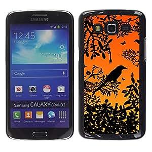 TECHCASE**Cubierta de la caja de protección la piel dura para el ** Samsung Galaxy Grand 2 SM-G7102 SM-G7105 ** Bird Tree Branch Rainforest Sunset Sitting