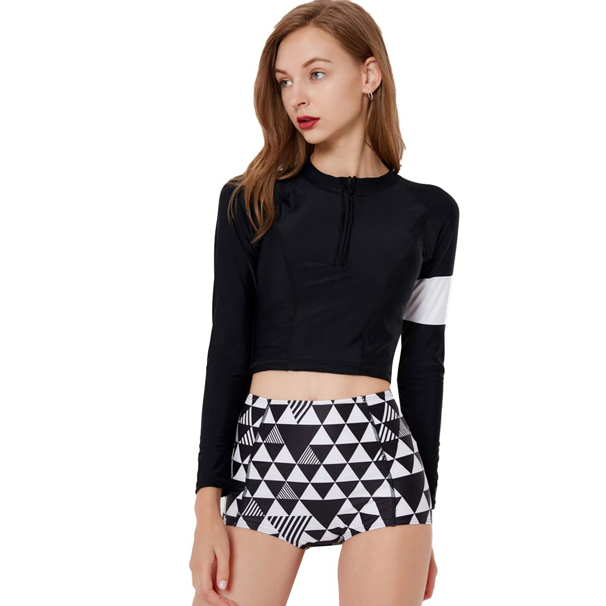1b0425456c8 Womens Two Piece Long Sleeve Half Zip Front Surfing Rash Guard Swimwear  Padded Push Up Swimsuit Top High Waist Bathing Suit at Amazon Women's  Clothing store ...