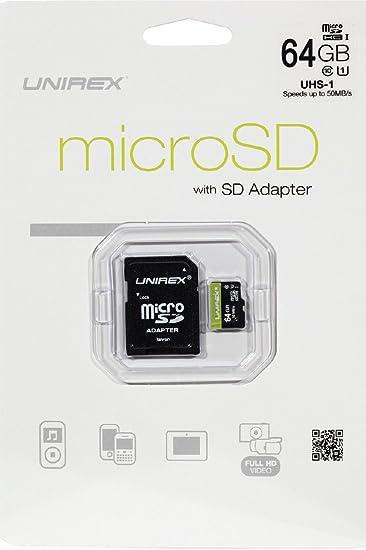 Amazon.com: unirex MicroSDHC tarjeta de memoria de 64 GB ...