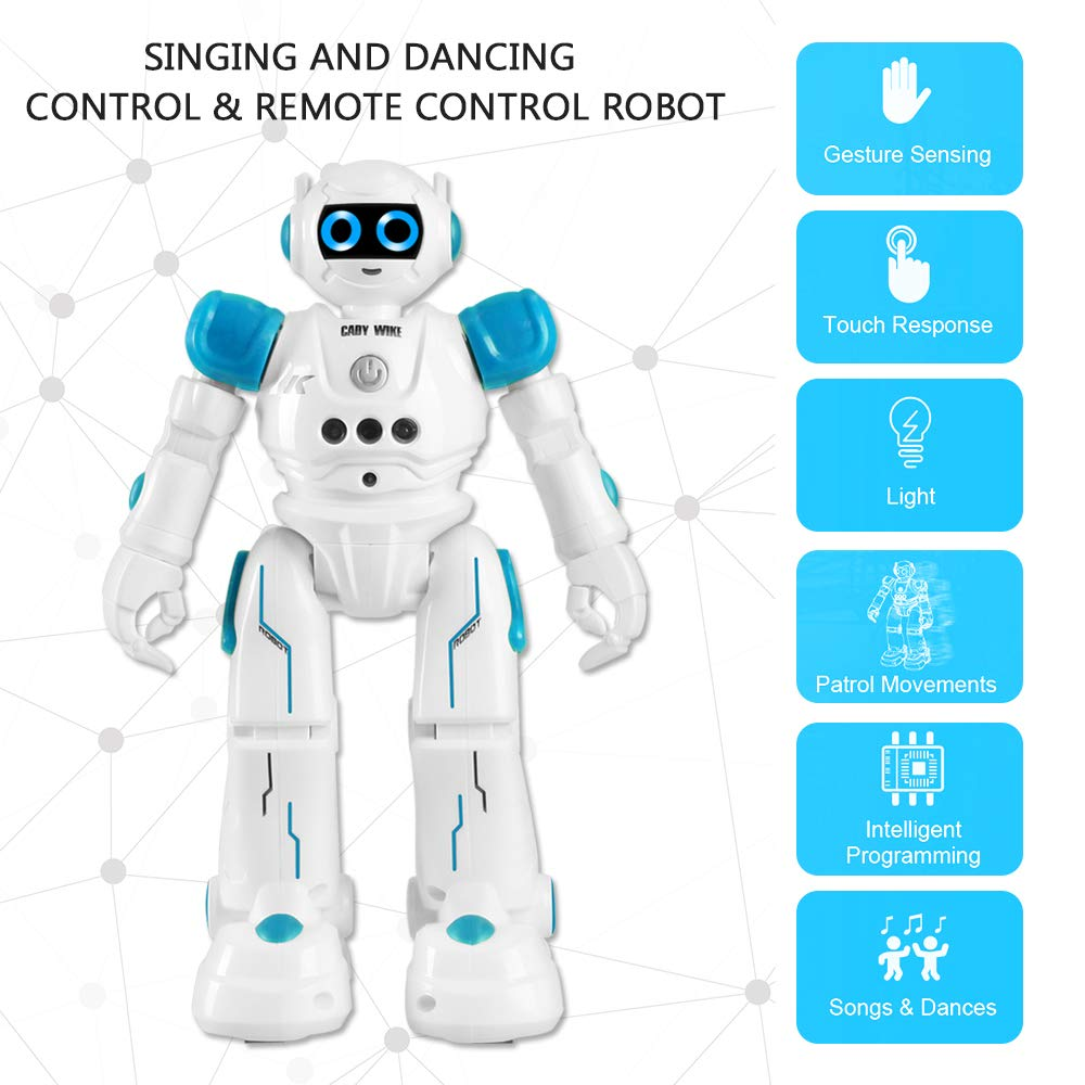 IHBUDS Robot Toy for Kids, Smart Robot Kit with Remote Control & Gesture Control, Perfect Robotics Gifts for Boys Girls Learning Programmable Walking Dancing Singing (Blue) by IHBUDS (Image #2)