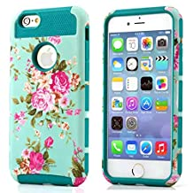 iPhone 4S Case, iPhone 4 Case, TPU + Pc Dual Layer Hybrid Fashion Shockproof Soft Hard Defender Case Cover for Apple iphone 4/ 4S (Orchid-cyan)