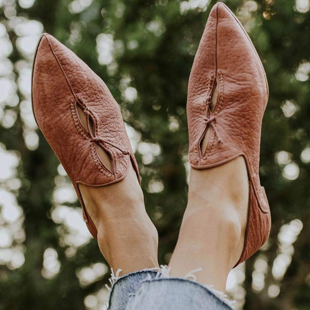 Lucky Mall Frauen Volltonfarbe Durchbrochene Flache Spitzen Schuhe Sommer Atmungsaktive Strandschuhe Damen Freizeitschuhe Mode Arbeitsschuhe L/ässige Reiseschuhe Party Schuhe