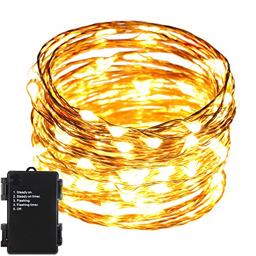 Er Chen Tm Indoor And Outdoor Waterproof Battery Operated 100 Led String Lights On 33 Ft Long Ultra Thin Copper String Wire With Timer Warm White