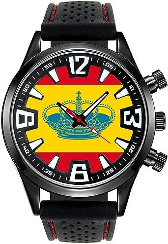 Timest - España Bandera de Yates - Reloj para Hombre con Correa de Silicona Negro Analógico Cuarzo SF515: Timest: Amazon.es: Relojes