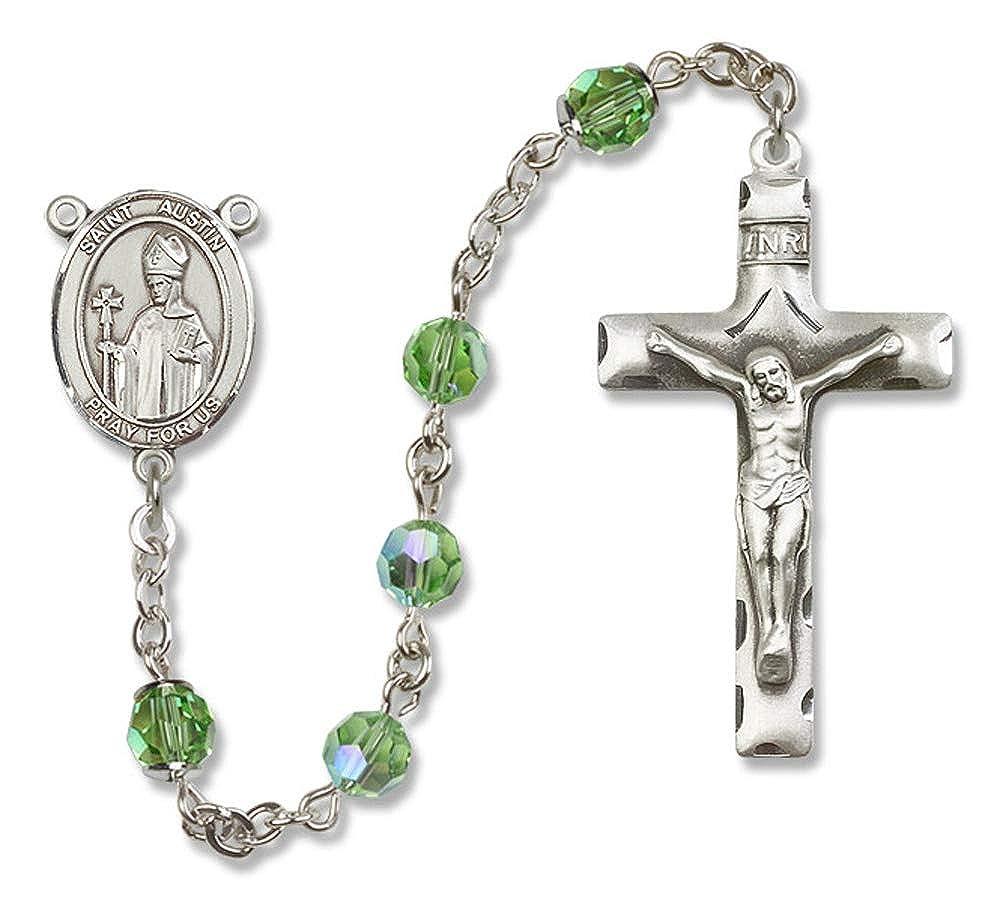 6mm Swarovski Austin Center Austrian Tin Cut Aurora Borealis Beads St All Sterling Silver Rosary with Peridot St Austin is the Patron Saint of England.