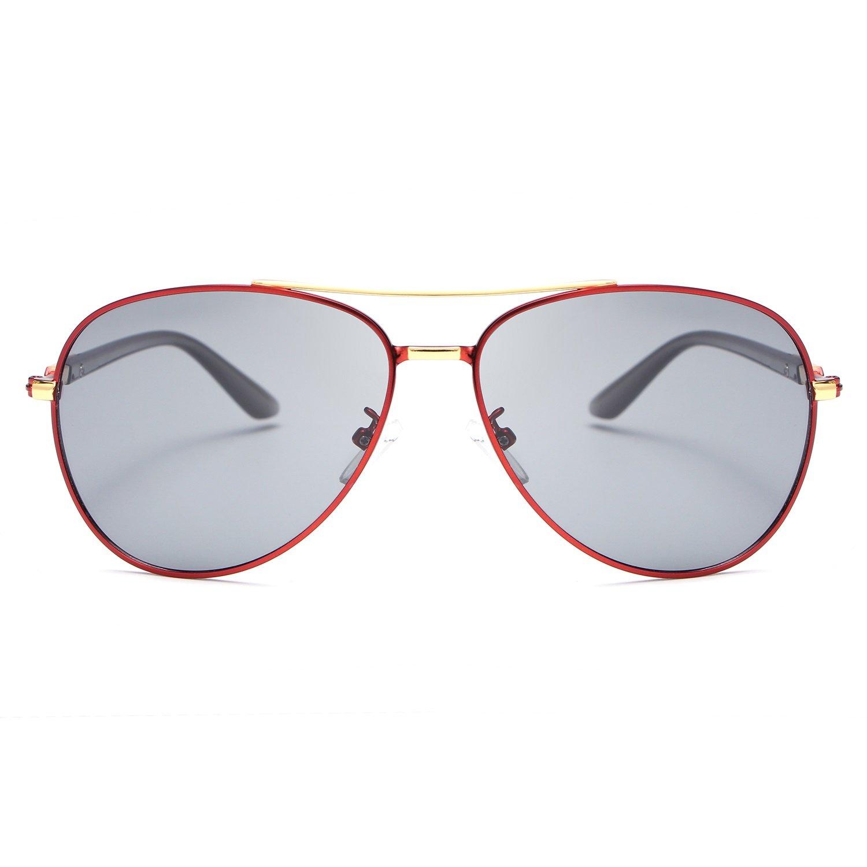 Xiaochou@sl Diseñador Retro de la Marca Polaroid Gafas de Sol Hombres Marco de Metal Prueba de luz UV400 Gafas de conducción Gafas Sol Shades Claro (Color : Brown)