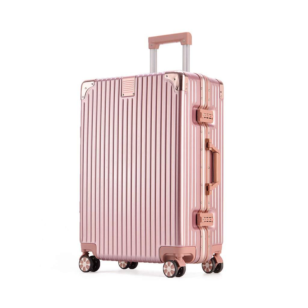 4ホイール荷物軽量Absハードシェルトロリー旅行スーツケース、Absポリエステル、コンビネーションロック付き、ピンク 26.5*48*75cm  B07MPZ8TP4