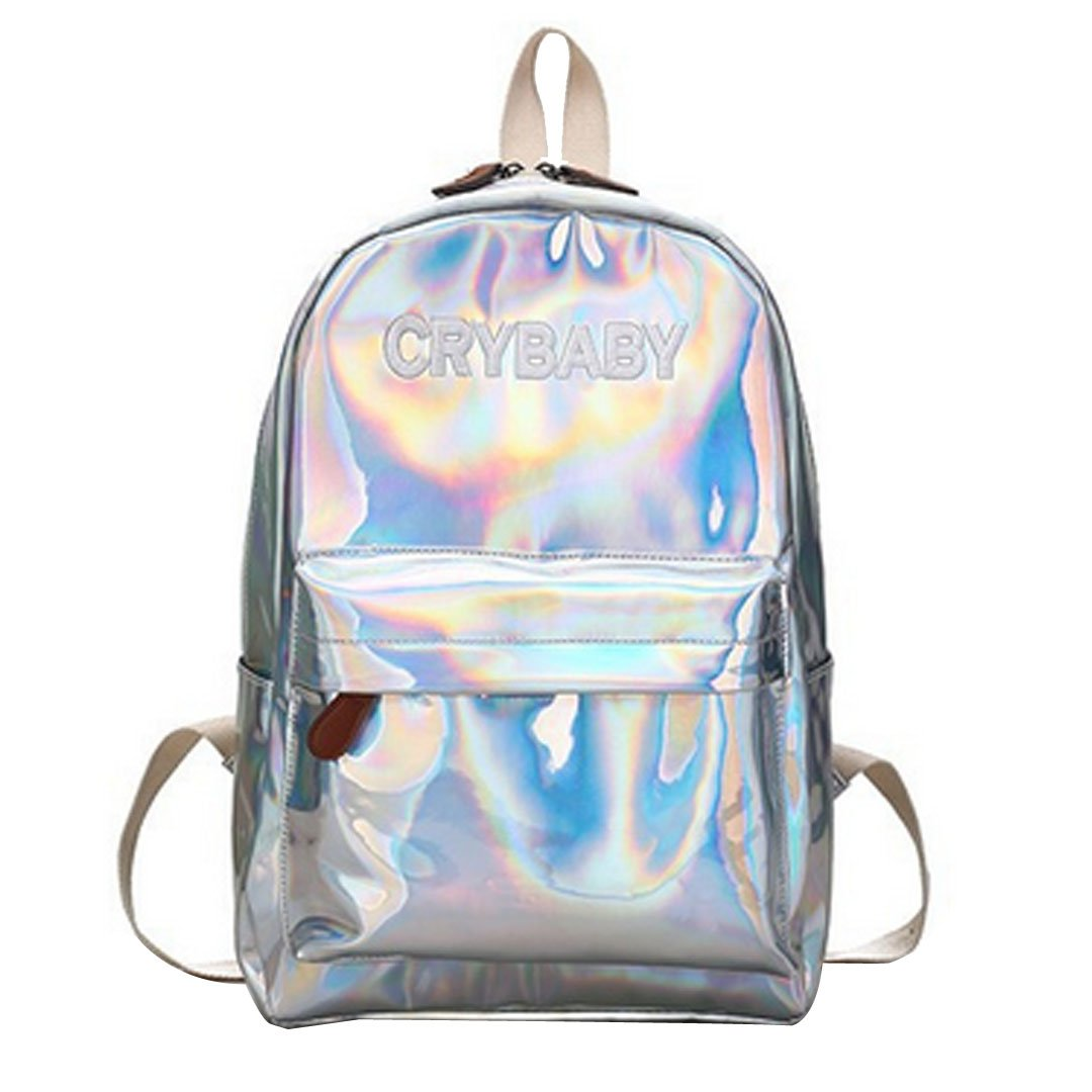 free shipping Orfila Fashion Holographic Pu Leather Backpack Bling Glitter Casual Daypack Laser School Bag Travel Satchel