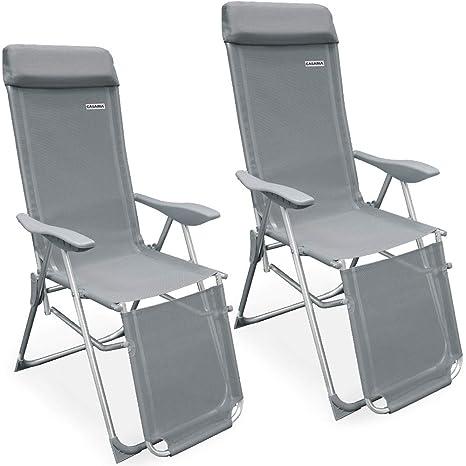Set de 2 sillas plegables de aluminio con almohada ...