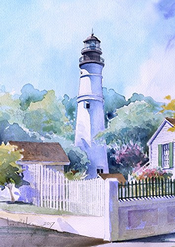 Key West Lighthouse, Florida. James Mann Matted Watercolor Art Prints (5x7)