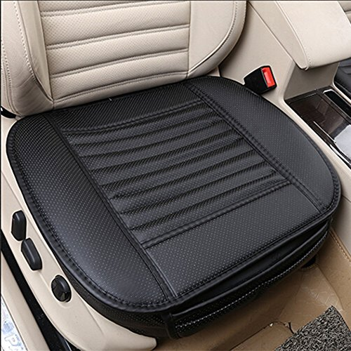 NetEra Car Seat Cushion Cover Pad Mat for Auto Car Office Chair Supplies, Four Seasons General Pu Leather Bamboo Charcoal Breathable Comfortable (2PCS, Black)