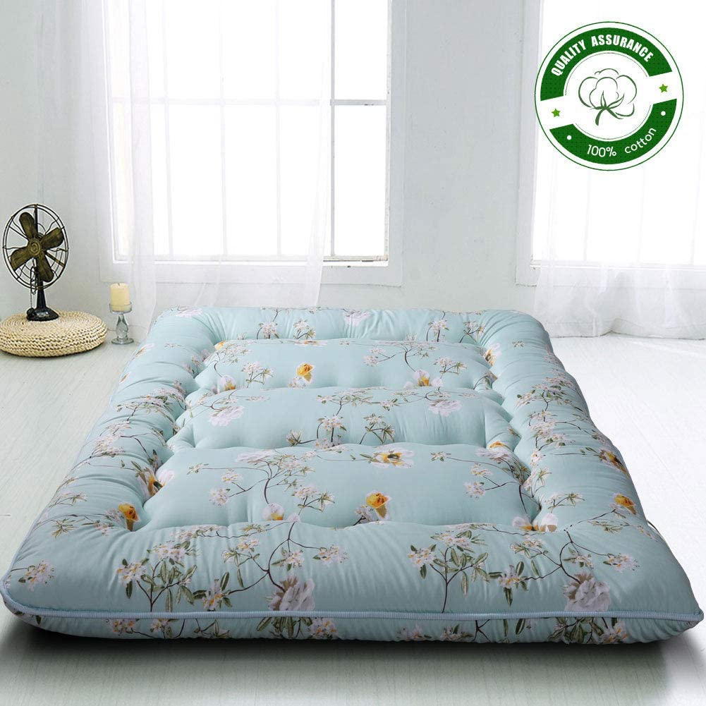 Rustic Floral Japanese Floor Mattress Futon Mattress, Memory Foam Foldable Bed Roll Up Camping Mattress Floor Lounger Bed Couches and Sofas, Thickness 10CM Queen Size