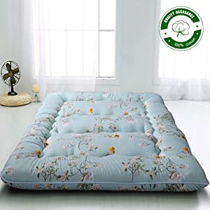 Rustic Floral Japanese Floor Mattress Futon Mattress, Memory Foam Foldable Bed Roll Up Camping Mattress Floor Lounger Bed Couches and Sofas, Thickness:10CM Queen Size