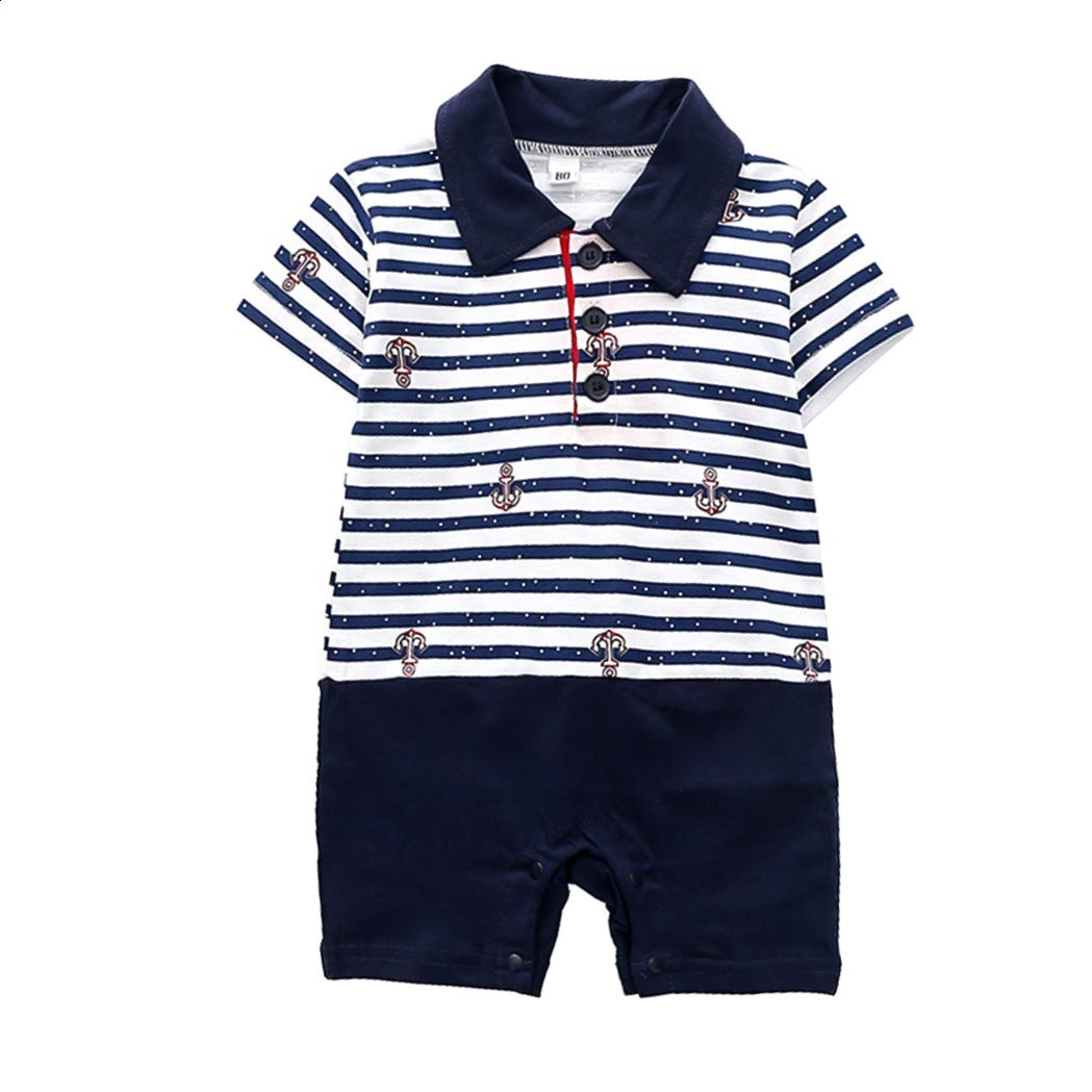 Newborn Baby Boy Clothes Stripe Color Matching Romper Cotton Jumpsuit 0-24M