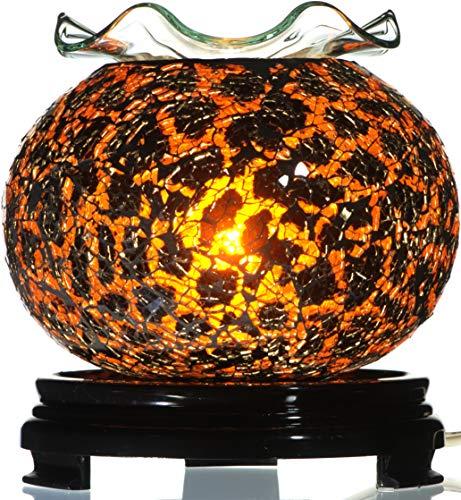 TVaromatics Orange and Black Oval Glass Electric Aroma Lamp Oil and Wax Tart ()