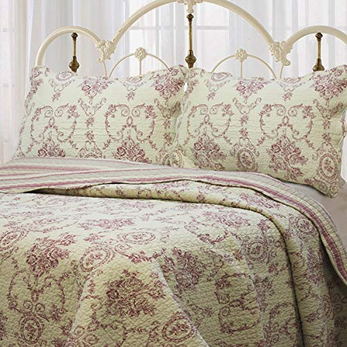 Cozy Line Home Fashions French Medallion Beige Burgundy Red Rose Flower Pattern Printed 100% Cotton Bedding Quilt Set Reversible Coverlet Bedspread Gifts for Women Men (Burgundy Red, King - 3 Piece)