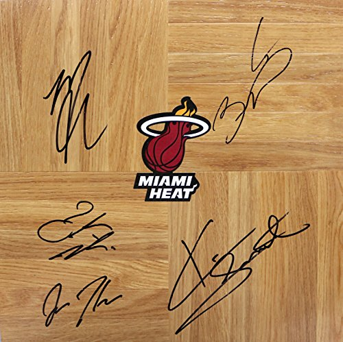 Miami Heat 2014-15 Team Autographed Signed Basketball Floorboard Dwyane Wade Mario Chalmers (Floor Signed Team)
