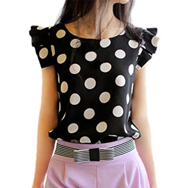 Mercu Women Polka Dot Casual Tee Ruffled Shirt Chiffon Tops Fitted Work Blouse
