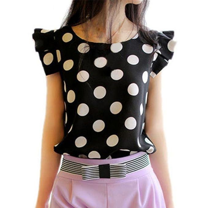 Mercu Women Polka Dot Casual Tee Ruffled Shirt Chiffon Tops Fitted Work Blouse at Amazon Womens Clothing store: