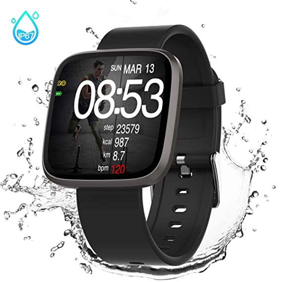 GOKOO Smart Watch for Men Women, Activity Tracker,IP68 Waterproof,Heart Rate Monitor Sleep Camera with Step Calorie Counter,Bluetooth Smartwatch Black