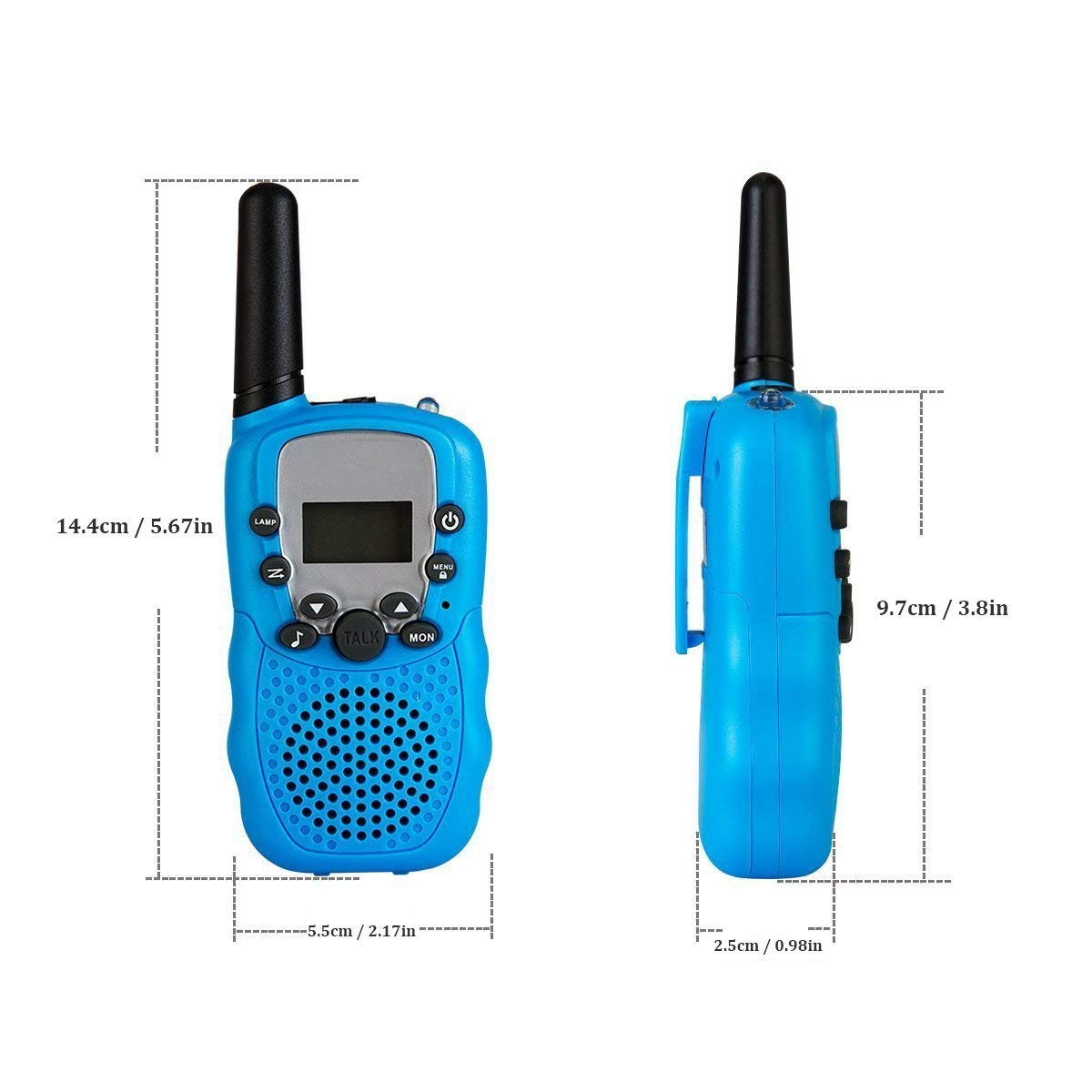 Rechargeable Walkie Talkie, Easy to use Two Way Radios, Best Gift 22 Chanels Long Range Cool Vox Walky Talky for Camping Hiking Fishing Toys with Batteries and Charger (Blue) by GZL (Image #3)