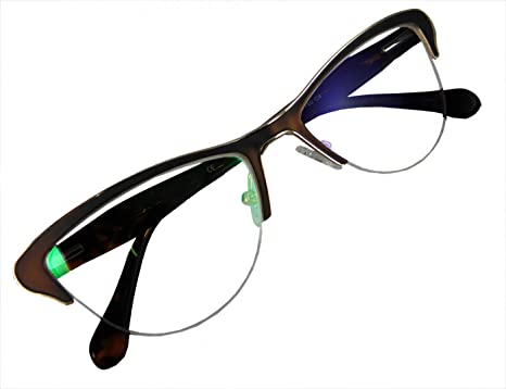 87090a7d67caf Circleperson women Vintage Cat eye Reading glasses Spring hinges Half- rimless Middle size (Brown