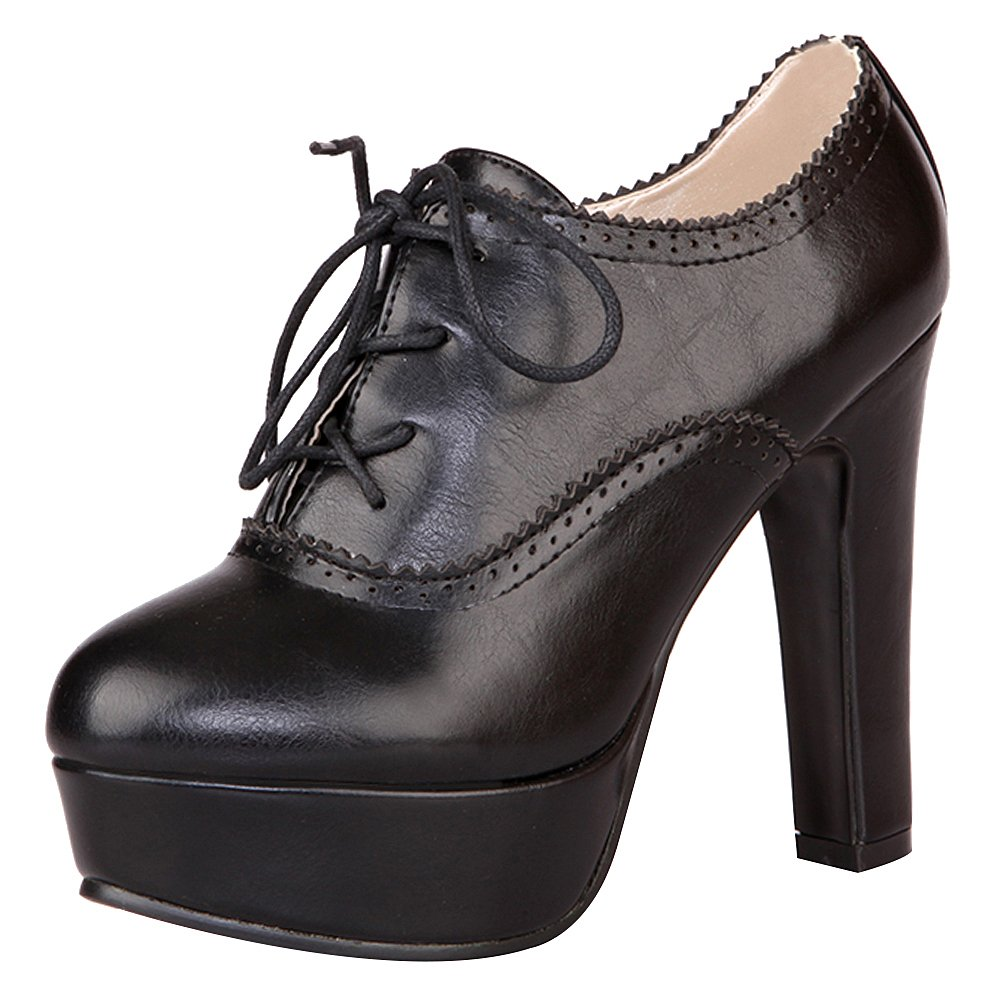 Jamron Women Elegant High Platform Block Heel Brogue Oxfords Closed-Toe Lace up Heeled Pumps Big Size Black SN02833 US5