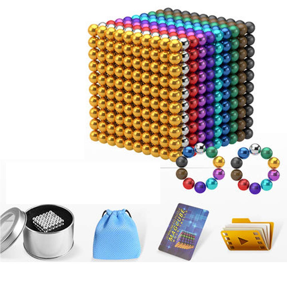 XHN Buck Ball Magic Building Ball Toys, 5mm for Intelligence Development and Stress Relief, Fun Stress Relief Desk Toy for Adults-color-1000+20pcs by XHN