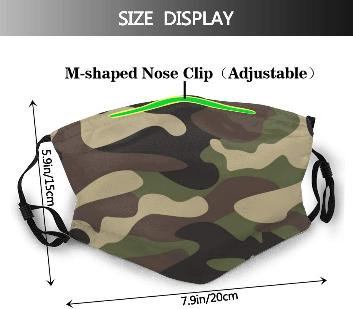 10 Filter Army Green Camouflage Dust Pollution Face Guard for Hiking Camping with Adjustable Ear Loops UV Protection Breathable Mouth Guard Insert Filters