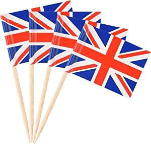 Donoter 100 Pack British Flag Toothpicks Union Jack Cupcake Topper Picksfor Birthday Party Cake Decorations