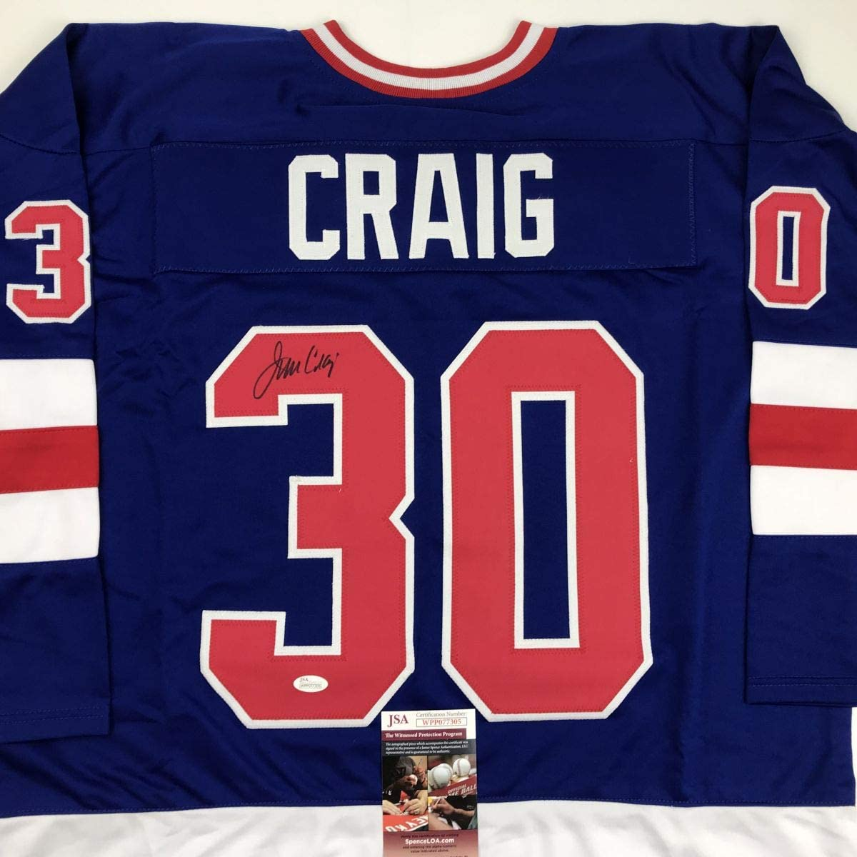 Autographed/Signed Jim Craig Blue Team USA Miracle On Ice 1980 Olympics Hockey Jersey JSA COA