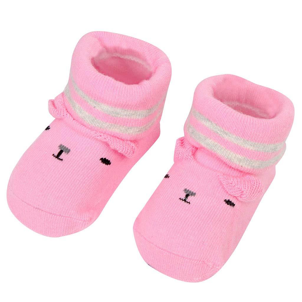 NUWFOR Newborn Baby Boys Girls Cartoon Ears Floor Socks Anti-Slip Baby Step Shoes Socks(Pink,6-9Months