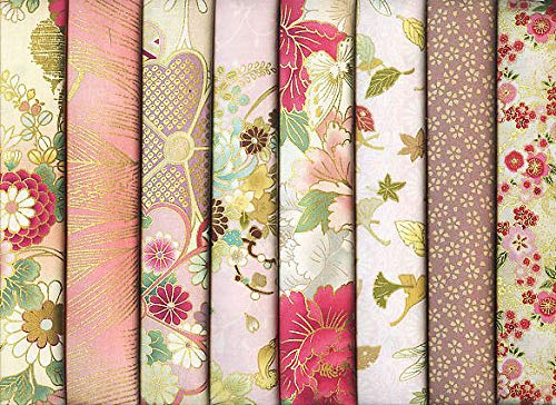 8 Pink Asian Japanese Fat Quarter Quilt Fabric Bundle III: 2 Yards