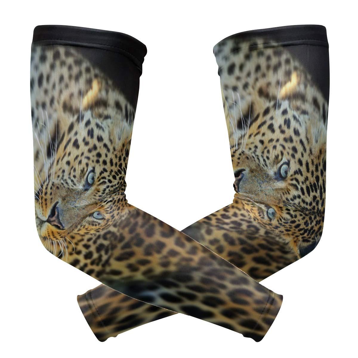 franzibla Leopardパターン印刷スポーツSleevelet Oversleeves Riding保護アームスリーブ B07G5LF8LR