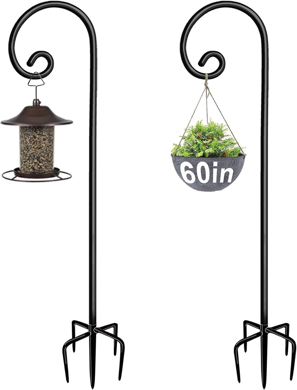 Artigarden Outdoor Shepherd Hooks 60 inch Tall for Bird Feeder (2 Packs), Adjustable Metal Garden Poles for Hanging Plants Solar Light Lantern, Bright Black
