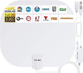 2021 Más Nuevo Antena de TV Interior,240KM Rango Amplificador de Señal Inteligente Antena de TV Digital para Interiores Canales de TV 1080P 4K ...