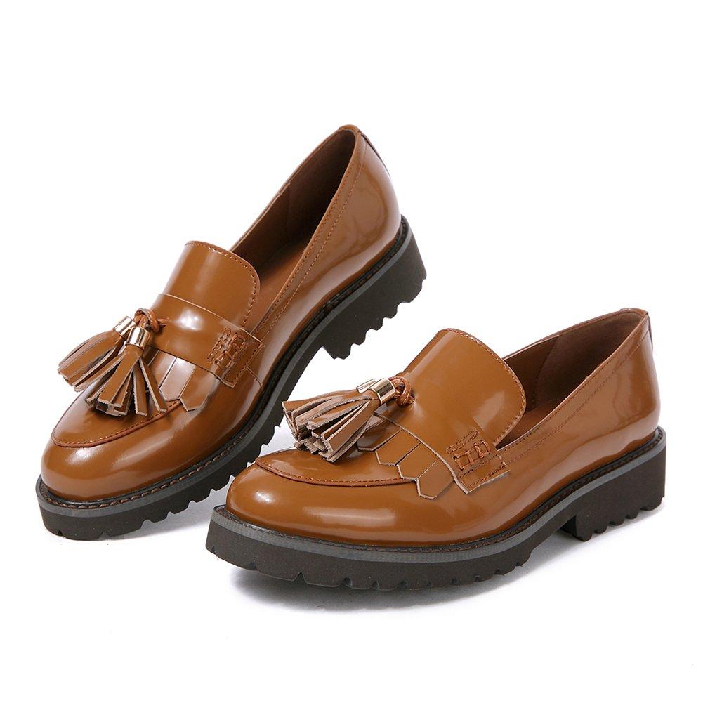 Mocassini Penny Donna Pelle Nero Eleganti Comode Piatte Loafers Scarpe con Frangia Calzature Tacco Basso Marrone Frangia