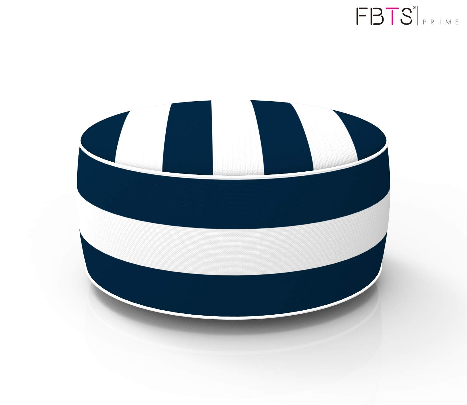 FBTS Prime Outdoor Inflatable Ottoman Navy and White Stripe Round 21x9 Inch Patio Foot Stools and Ottomans Portable Travel Footstool Used for Outdoor Camping Home Yoga Foot Rest