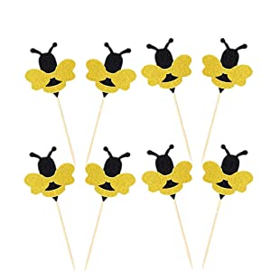 OBUY 24 Pack Glitter Bumble Bee Cupcake Toppers for Gender Reveal Party Decorations and Baby Shower Party Decorations
