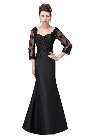 b9a7cc7632892  Wonderfulドレス フォーマルドレス 黒 レース ロングドレス 演奏会 袖 スレンダーライン 発表