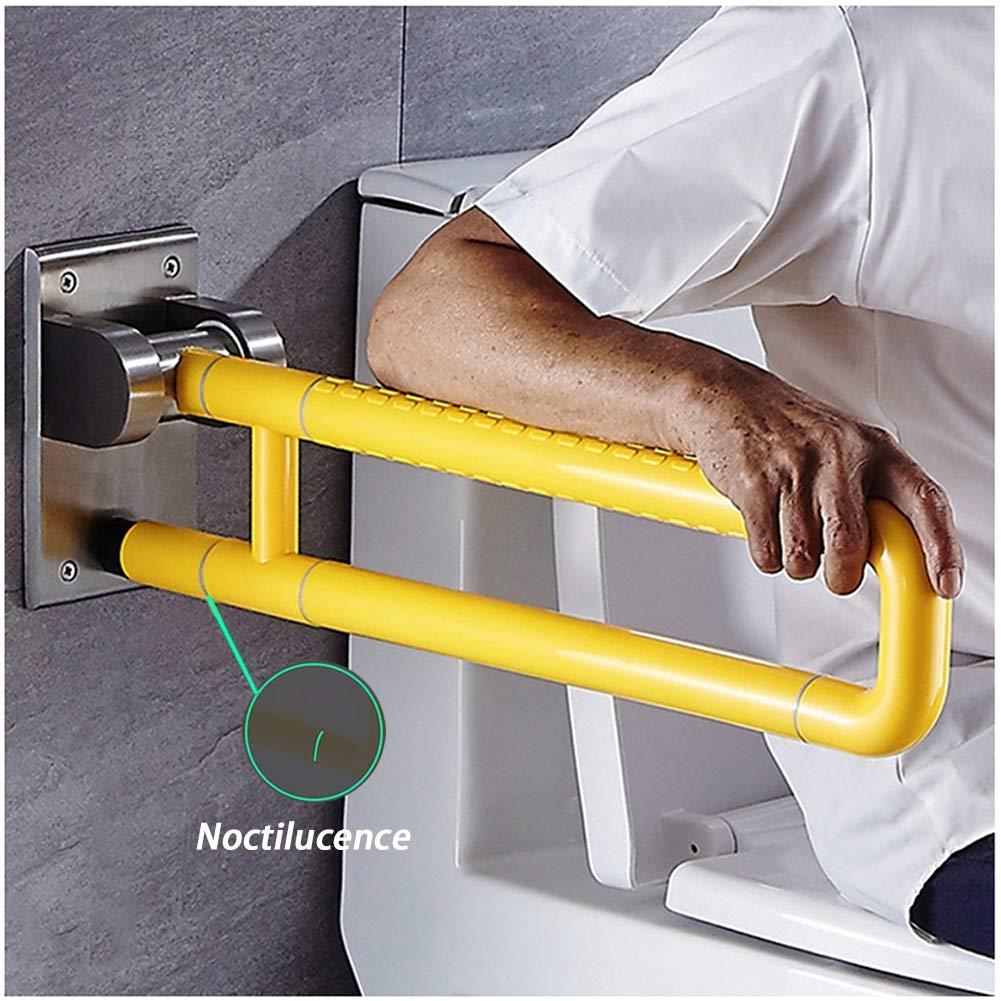 DDRRXX Maniglione di Sicurezza da Muro,Maniglione Ribaltabile Bagno Disabile Maniglione,per La Anziani Disabili Maniglione di Sicurezza da Bagno,Lunghezza 60 Cm,White,60cm