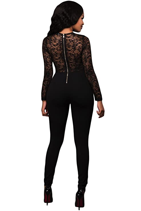 98e1cde4b83 Amazon.com  Lalagen Women s Sexy Long Sleeve Lace Splice See Through Romper  Jumpsuit Black M  Clothing
